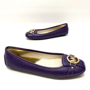 Michael kors purple leather loafers women's 8.5